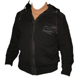 Куртка из верблюжьей шерсти с капюшоном черного цвета